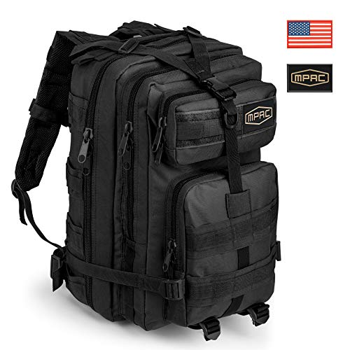 mPac Military Tactical Backpack - Heavy Duty Rucksack for Hiking, Camping, Travel, Hunting, Survival, Army - Waterproof Bugout Outdoor Day Pack with Molle Webbing Attachments - 2 Flag Patches