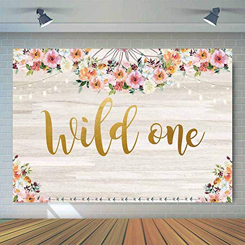 Allenjoy 7x5ft Floral Boho Theme Wild One Wood Backdrop Baby Girl 1st Birthday Party Decoration Bohemian Trible Wooden Wall Kids First Bday Photo Booth Background Cake Table Banner Photobooth Props]()