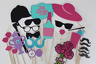Colorful Kentucky Derby Photo Booth Props, 26 Pc Set by Paper and Pancakes. Horse Racing Props