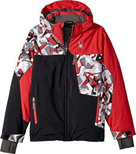 Spyder Boy's Ambush Ski Jacket, Black/White Mini Camo Print/Red, Size - Red Ambush