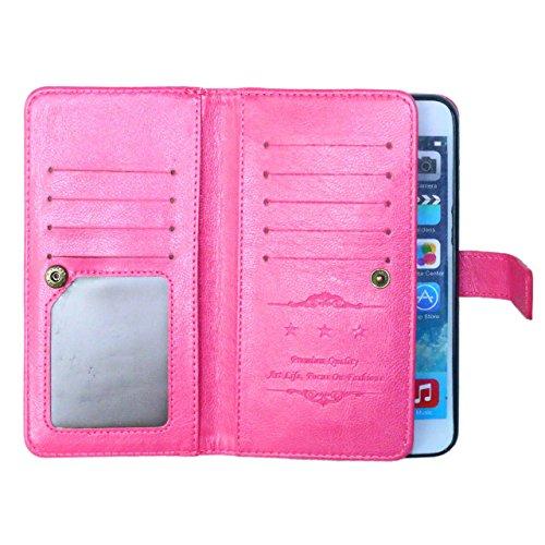 SRY-Caso sencillo Color sólido de alta calidad de cuero de la PU cubierta de la caja caso de la cartera de soporte para el iPhone 6S más Protección reforzada ( Color : Brown , Size : 6S Plus ) Rose