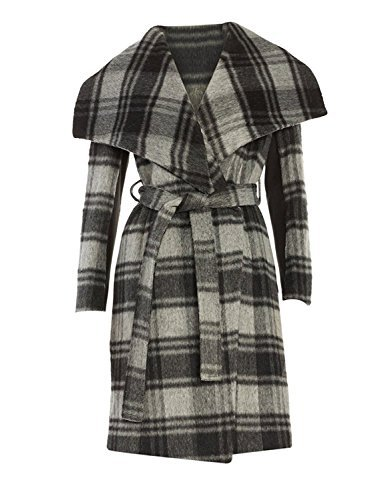 BCBGeneration Women's Gray Plaid Wrap Coat (S)