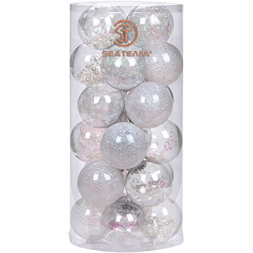 Sea Team 70mm/2.76 Shatterproof Clear Plastic Christmas Ball Ornaments Decorative Xmas Balls Baubles Set with Stuffed Delicate Decorations (24 Counts, White)
