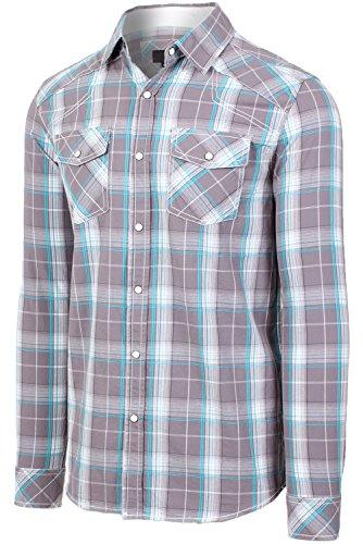 Hipster Western Plaid Long Sleeve Pearl Snap Shirt 05GREY Checkered Shirts, L