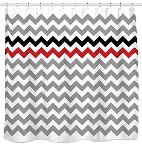 Sunlit Zigzag Red and Black Stylish Grey White Chevron Fabric Shower Curtain, Geometric Zig Zag Pattern Lines and Contemporary Stripes Futuristic Print Nordic Design Fabric Bathroom Decor
