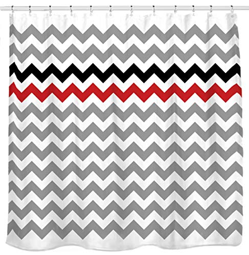 Sunlit Zigzag Red and Black Stylish Grey White Chevron Fabric Shower Curtain, Geometric Zig Zag Pattern Lines and Contemporary Stripes Futuristic Print Nordic Design Fabric Bathroom Decor (White Fabric Grey Chevron)