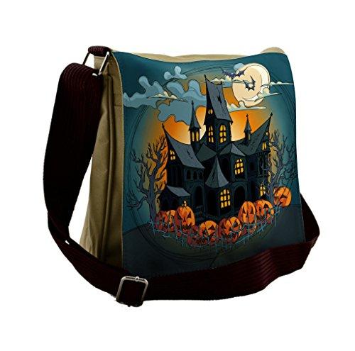 Lunarable Halloween Messenger Bag, Medieval Haunted Castle, Unisex Cross-body