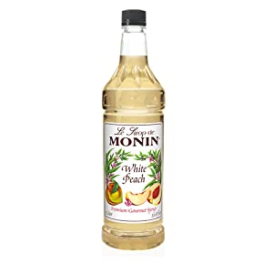 Monin - White Peach Syrup, Juicy Ripe Peach Flavor, Perfect for Cocktails, Mocktails, Iced Teas, & Smoothies, Gluten-Free, Vegan, Non-GMO (1 Liter)