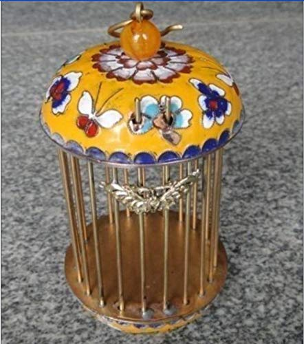 ZAMTAC Chinese Decorated Handwork Flower Butterfly Copper Cloisonne Enamel Bird cage ()