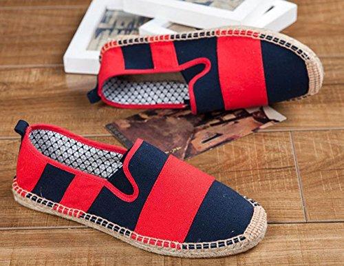 Plaid&Plain Unisex Mens Womens Two Tone Low Top Cap Toe Strip Canvas Espadrilles Flats Red BBIiM63sr