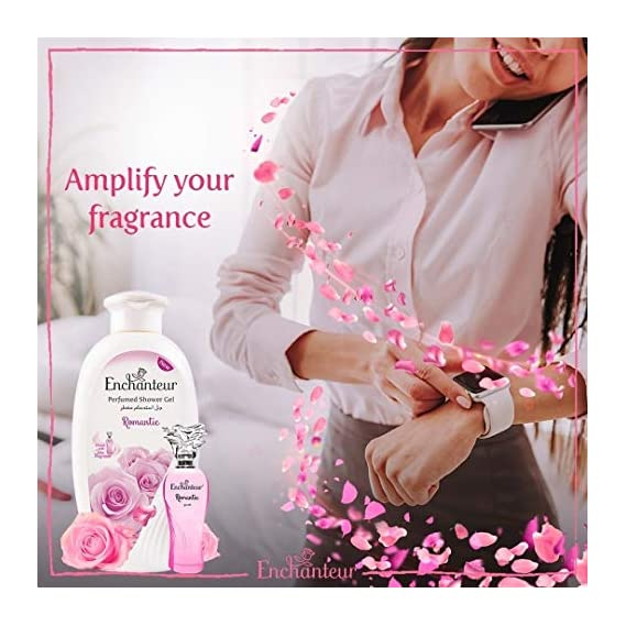 Enchanteur Romantic Perfumed Shower Gel (Body Wash) for Women, 250ml with Roses & Jasmine Extracts