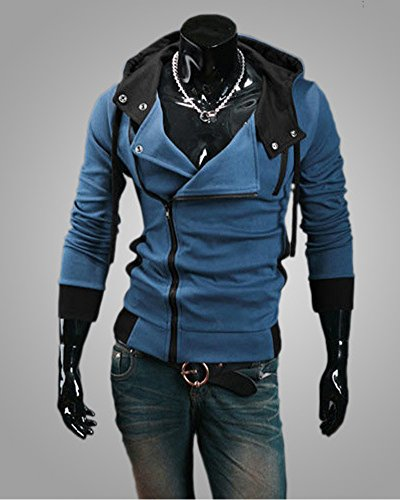 Obliqua Colore Casuale Blu Cerniera Moda Autunno Cappuccio Contrasto Hoodies Sweatshirt Primavera Sportivo Felpa Maglione Con Minetom Uomo Ud8q4wU
