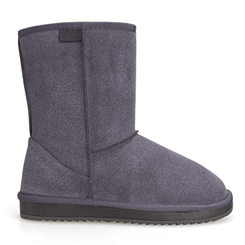 Invierno Nieve Gris Forrada Para Piel Mujer Casual De Lonlier Zapato Bota w8qxIWvf
