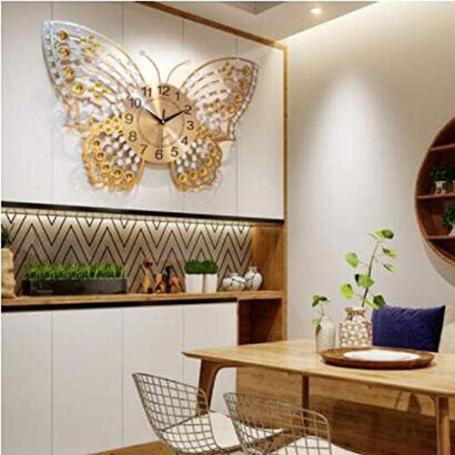KUQIQI バタフライクロッククリエイティブアーティストの時計リビングルームサイレントウォールクロック装飾的なペンダント装飾寝室の大きな壁チャート (Color : B)