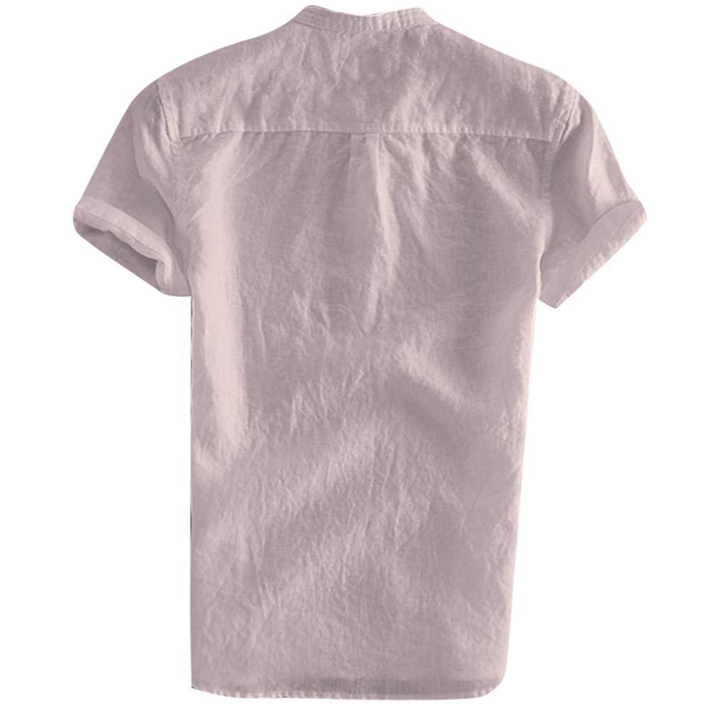 Mens Summer Linen Cotton Henley Shirts Casual Short Sleeve Button Down Solid Breathable Shirt Beach Plain Tees Blouse
