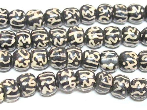 20 beads - 8 mm size Tibetan Om mani padme hum inscribed bone beads from Nepal - ML111C