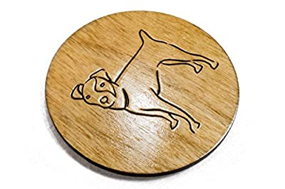 "Hard Coated Jack Russell Terrier Coasters - Set of 4 Handmade Engraved 3.5"" Round Wood Pet Lover"