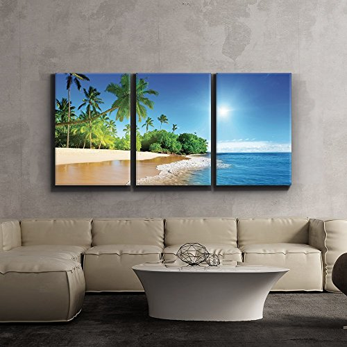3 Piece Canvas Print - Contemporary Art, Modern Wall Decor - Palm trees on tropical beach vacation - Giclee Artwork - Gallery Wrapped Wood Stretcher Bars - Ready to Hang- (Coconut Palm Wood)