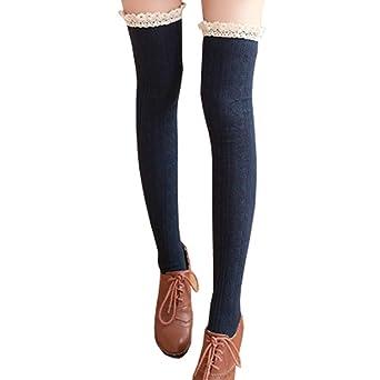 Hishiny calcetines hasta la rodilla over knee calcetines mujeres Encaje sobre la rodilla calcetines hasta la rodilla calcetines más cálidos medias retro ...