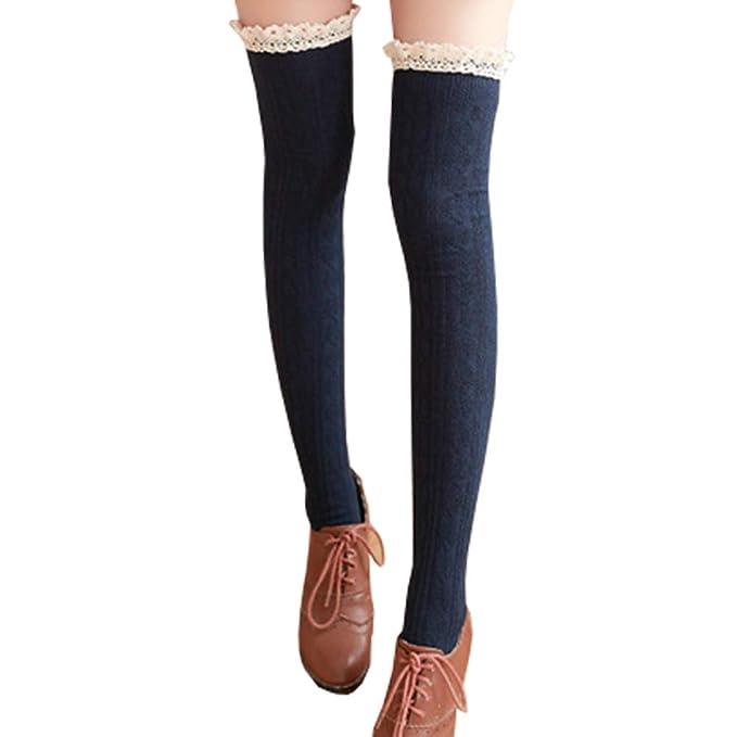 Hishiny calcetines hasta la rodilla over knee calcetines mujeres Encaje sobre la rodilla calcetines hasta la