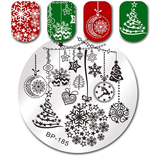 Template Snowman - Christmas Nail Stamping Plate Snowman Polar Bear Rectangle Template Santa Elk Nail Art Printing Stencil Tool (N)