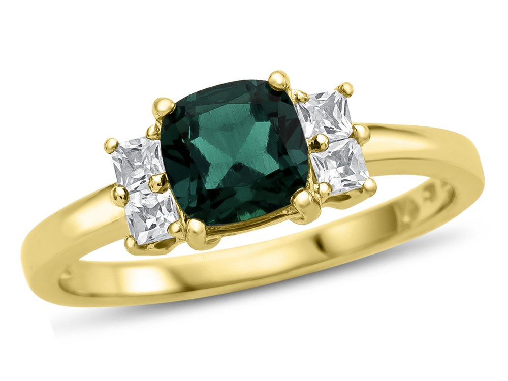 6x6mm Cushion Created Emerald and White Topaz Ring 10k Yellow Gold Size 7