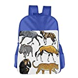 Haixia Students Boys'&Girls' School Backpack Zoo Collection of Cartoon Style Wild Animals of Africa Fauna Habitat Savannah Wilderness Decorative