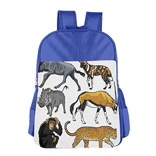 Haixia Students Boys'&Girls' School Backpack Zoo Collection of Cartoon Style Wild Animals of Africa Fauna Habitat Savannah Wilderness Decorative by Haixia