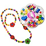 Kids Wood Bead Craft Kit - PLUS - Finished Necklace and Bracelet Set - Spinnaker Collection - Children's friendship package, wear one set and make a second.