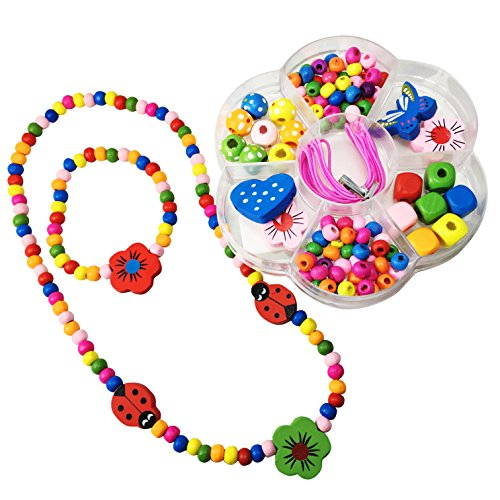 Kids Wood Bead Craft Kit - PLUS - Finished Necklace and Bracelet Set - Spinnaker Collection - Children's friendship package, wear one set and make a second. - Disney Family Halloween Costume Ideas