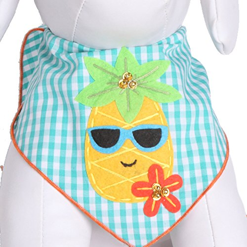 Tail Trends Dog Bandanas Hawaiian Vacation Pineapple Fun Design fits Most Medium to Large Sized (Dog Hawaiian Costume)