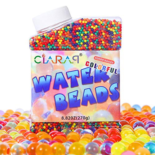 CiaraQ Water Beads Pack (50000 Beads), Rainbow Mix Jelly Water Gel Beads Growing Balls for Kid Tactile Sensory Toys, Wedding Home Decoration, Plants Vase Filler