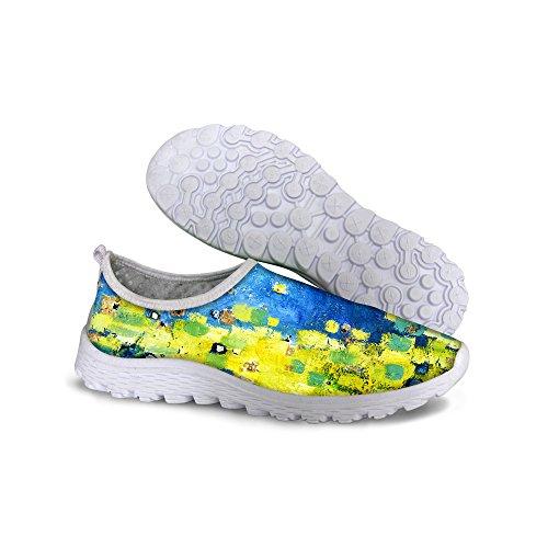 Pour U Conceptions Élégant Galaxie Floral Imprimé Femmes Casual Maille Respirant Marche Chaussures De Course Vert Un