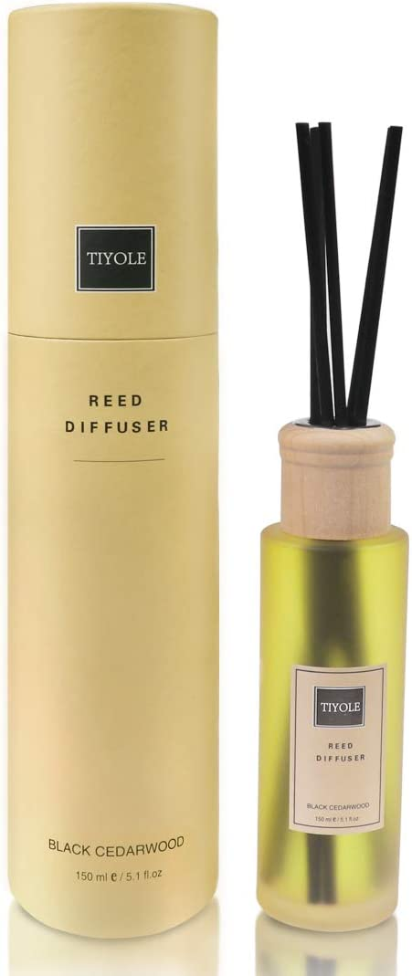 TIYOLE Reed Diffusers for Home, Oil Diffuser and Sticks Set, Black Cedarwood with Bell Pepper, Cumin, Juniper Fragrance Notes 5.1oz(150ml)