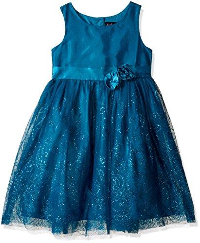 Lilt Little Girls' Toddler Floral Glitter Mesh Dress, Teal, 2T (Glitter Mesh Dress)