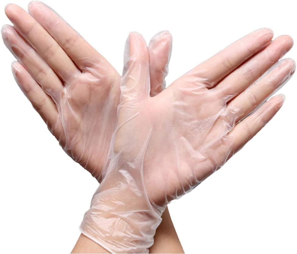 Disposable Gloves, Nitrile Household Cleaning Gloves, Food Grade PVC Gloves, Large Medium, 50 per Pack, Latex Free, Powder Free (L)