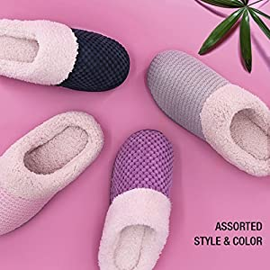 Women's Comfort Coral Fleece Memory Foam Slippers Plush Lining Slip-on Clog House Shoes for Indoor & Outdoor Use