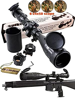 Ledsniper®riflescope 6-24x50 Aoe Red & Green & Blue Illuminated Mil-dot Adjustable Intensified Rifle Scope + Sunshade + Flip-up Caps + Rail Mounts by Ledsniper®(us seller)