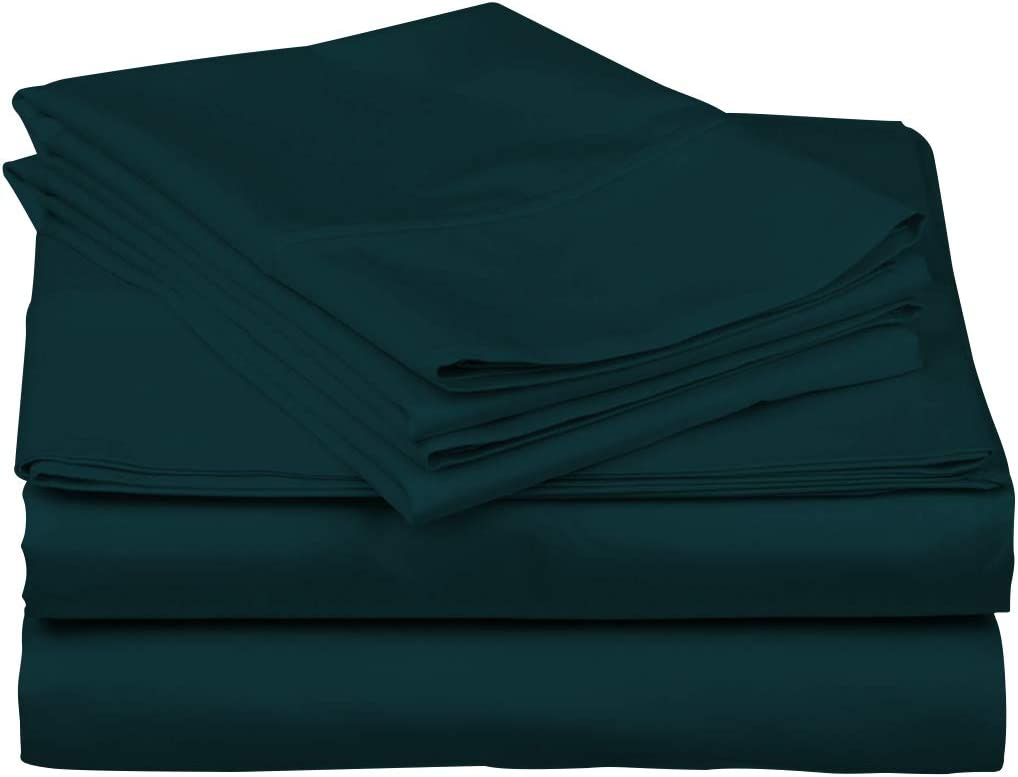 1000 Thread Count Best 100% Cotton Sheets & Pillowcases Set - 4 Pc Teal Color Long-Staple Combed Cotton Bedding King Sheet for Bed, Fits Mattress Upto 18'' Deep Pocket, Soft & Silky Sateen Weave