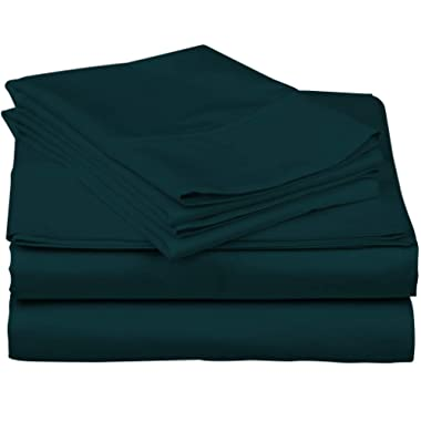 True Luxury 1000-Thread-Count 100% Egyptian Cotton Bed Sheets, 4-Pc California King Teal Sheet Set, Single Ply Long-Staple Yarns, Sateen Weave, Fits Mattress Upto 18'' Deep Pocket