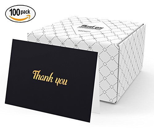 100 Thank You Cards with Envelopes - Perfect for Wedding, Baby Shower, Business, Professional, Graduation, Birthday, Engagement, Funeral, Sympathy, Baptism | Bulk Black Thank You Notes Gold Foil Print