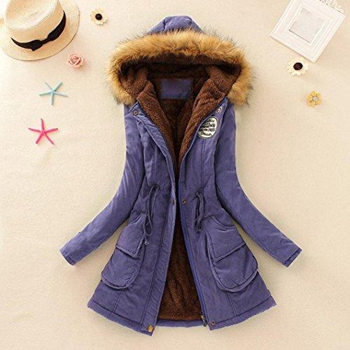 invierno Púrpura Parka capucha mujer abrigo Chaqueta con largo de caliente Mujeres para Amlaiworld Ropa Abrigo 6Opcgq4HH