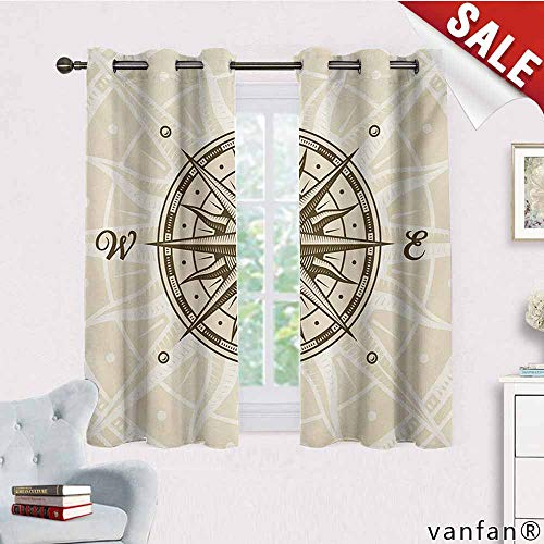 (Big datastore Grommet Window Curtain,Compass,Sun Motif Backdrop with Windrose Directions East West North South Navigation,for Bedroom, Living Room & Nursery Room,Olive Green Beige,W72 Xl45)