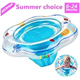 Conbo Baby Swimming Ring Floats with Safety Seat Double Airbag Swim Rings for Babies Kids Swimming Float Baby Floats for Pool Swim Training Aid Kids PVC Pool Floats for Toddlers of 6-24 Months (Blue)
