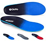Giotto Plantar Fasciitis Flat Feet Orthotic High Arch Support Inserts Insoles Relieve Pronation Heel Ankle Foot Pain for Women Men-Black/Blue-10