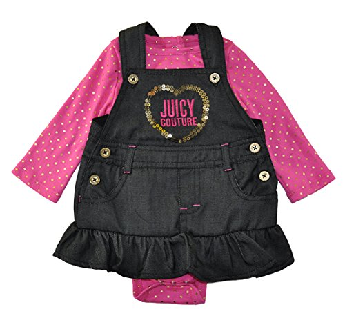 Juicy Couture Baby Girls' Long Sleeve Bodysuit & Jumper Dress Set, Chambray (Girls Chambray Jumper)