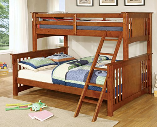 Furniture of America Denny TwinXL-Queen Bunk Bed, Oak