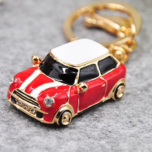 GH8 Kawaii Cute Rhinestone Car Shape As Charms Car Key Chains Key Ring Tassels keyring keychains linnor Women Bag Charms DIY (Red) ()