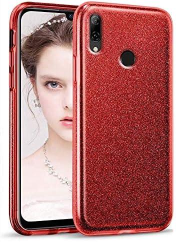 "Image of Coovertify Funda Purpurina Brillante Red Rose Xiaomi Redmi Note 7, Carcasa roja Resistente de Gel Silicona con Brillo Rojo Rosa para Xiaomi Redmi Note 7 (6,3"")"