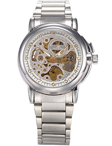 KS Royal Carving Men's Luxury Automatic Mechanical Skeleton Dial Steel Band Analog Sport Watch KS038 (Skeleton Dial)